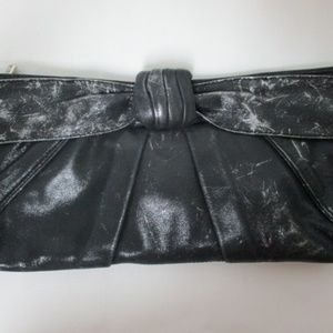 Kooba black silver leather clutch purse bow NEW